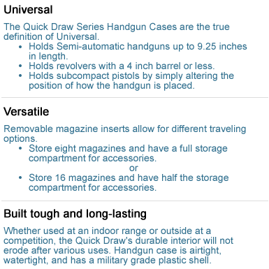 Handgun Case Features and Benefits 1