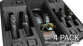 Handgun Shooting Range Case 4 Pack with Room for Accessories