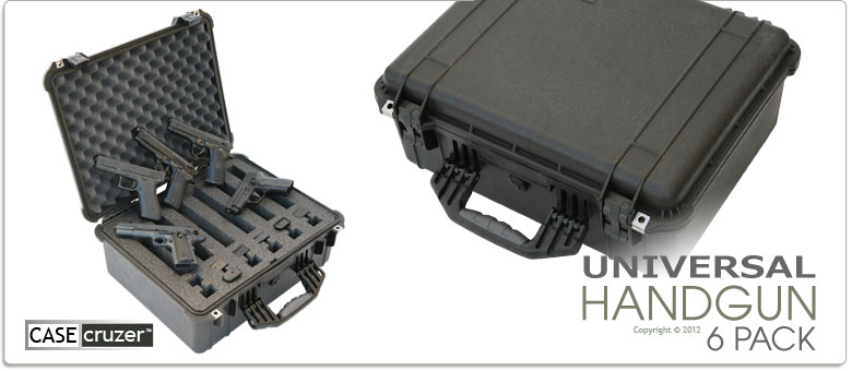 universal handgun case 6 pack